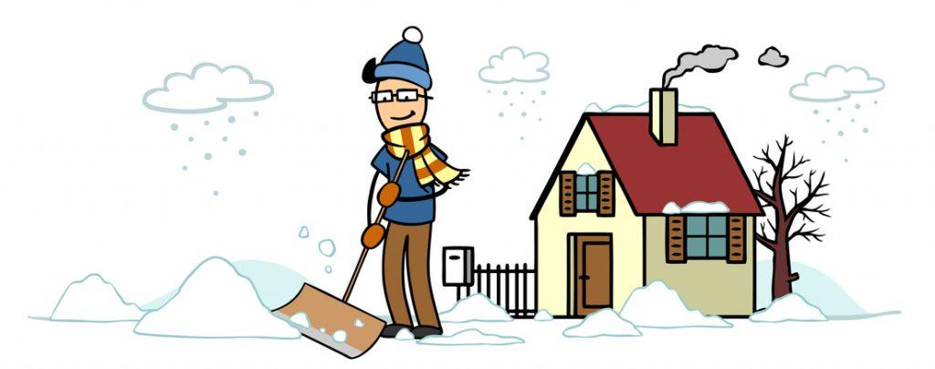 Cartoon Mann vor Haus beim Schnee schieben als Winterdienst